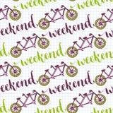 Modello senza cuciture disegnato a mano con le bici e l'iscrizione di fine settimana Vector il fondo con la bicicletta in tandem  illustrazione di stock