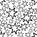 Modello senza cuciture disegnato a mano con le stelle isolate su bianco Immagini Stock Libere da Diritti