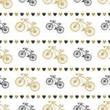 Modello senza cuciture disegnato a mano creativo con le bici ed i cuori nel nero e nei colori dell'oro Fondo di vettore con la bi illustrazione di stock
