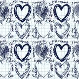 Modello senza cuciture disegnato a mano del cuore Fotografie Stock