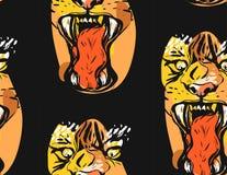 Modello senza cuciture disegnato a mano del disegno grafico dell'estratto di vettore del fronte della tigre di rabbia nei colori  illustrazione vettoriale