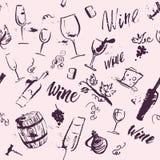 Modello senza cuciture disegnato a mano dell'acquerello artistico di vettore con gli elementi di progettazione del vino isolati illustrazione di stock