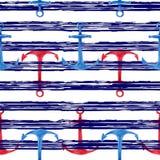 Modello senza cuciture disegnato a mano dell'acquerello con il fondo a strisce marino delle ancore rosse e blu Progettazione naut Immagini Stock