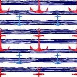 Modello senza cuciture disegnato a mano dell'acquerello con il fondo a strisce marino delle ancore rosse e blu Progettazione naut Immagini Stock Libere da Diritti