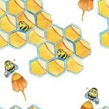 Modello senza cuciture disegnato a mano dell'acquerello con l'ape ed i favi royalty illustrazione gratis