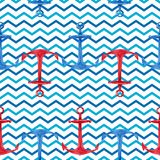 Modello senza cuciture disegnato a mano dell'acquerello con le ancore rosse e blu Progettazione nautica sveglia e semplice Immagine Stock