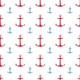 Modello senza cuciture disegnato a mano dell'acquerello con le ancore rosse e blu Progettazione nautica sveglia e semplice Fotografia Stock Libera da Diritti