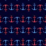 Modello senza cuciture disegnato a mano dell'acquerello con le ancore rosse e blu su fondo blu scuro Progettazione nautica svegli Fotografia Stock
