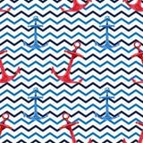 Modello senza cuciture disegnato a mano dell'acquerello con le ancore rosse e blu sul fondo dello zig Progettazione nautica svegl Fotografia Stock Libera da Diritti