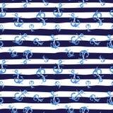 Modello senza cuciture disegnato a mano dell'acquerello con le ancore su fondo a strisce marino bianco e blu Sveglio e semplice Fotografia Stock Libera da Diritti