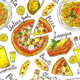 Modello senza cuciture disegnato a mano dell'acquerello di alimento italiano Fotografia Stock