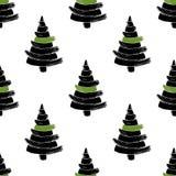 Modello senza cuciture disegnato a mano dell'albero di Natale isolato su un fondo bianco illustrazione vettoriale