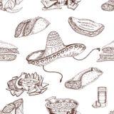 Modello senza cuciture disegnato a mano dell'alimento messicano illustrazione di stock