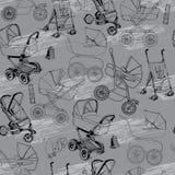 Modello senza cuciture disegnato a mano delle carrozzine, dei carrelli e dello strolle del bambino royalty illustrazione gratis