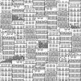 Modello senza cuciture disegnato a mano delle case francesi di stile Immagine Stock Libera da Diritti