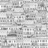 Modello senza cuciture disegnato a mano delle case italiane di stile Immagine Stock Libera da Diritti