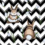 Modello senza cuciture disegnato a mano di Pasqua con le lepri o i conigli sul fondo di zigzag illustrazione vettoriale