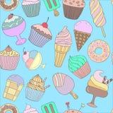 Modello senza cuciture disegnato a mano sveglio con differenti tipi di gelati Struttura di scarabocchio con i dessert dolci immagine stock