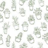 Modello senza cuciture disegnato a mano sveglio con il cactus Fotografie Stock