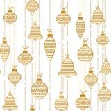 Modello senza cuciture dorato che consiste delle palle di Natale Fotografia Stock