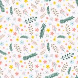Modello senza cuciture elegante rustico con i rami verdi e marroni gialli, blu ed arancio dei fiori, Illustrazione di vettore illustrazione di stock