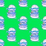 Modello senza cuciture enorme dell'hamburger illustrazione vettoriale