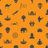 Modello senza cuciture eps10 di colore di simboli di tema del paese dell'India Fotografie Stock