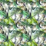 Modello senza cuciture esotico dell'acquerello Elefanti con le foglie tropicali variopinte Fondo africano degli animali Arte dell illustrazione di stock