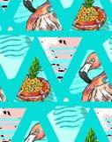 Modello senza cuciture esotico fatto a mano con le foglie tropicali, l'ananas ed il fenicottero rosa su geometrico astratto isola Immagine Stock
