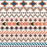Modello senza cuciture etnico azteco, fondo rosa ed arancio tribale illustrazione vettoriale