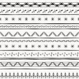 Modello senza cuciture etnico dell'illustrazione di vettore Stampa in bianco e nero illustrazione di stock
