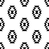 Modello senza cuciture etnico geometrico dell'ornamento azteco in bianco e nero, Immagine Stock