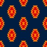 Modello senza cuciture etnico geometrico dell'ornamento azteco blu giallo rosso variopinto, vettore Fotografia Stock Libera da Diritti