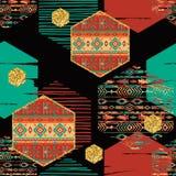Modello senza cuciture etnico tribale con gli elementi geometrici di esagono Fotografia Stock