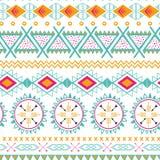 Modello senza cuciture etnico tribale di vettore Fondo astratto azteco Struttura messicana dell'ornamento nei colori rosa arancio Fotografie Stock