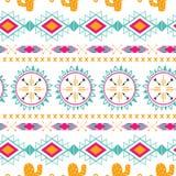 Modello senza cuciture etnico tribale di vettore Fondo astratto azteco Struttura messicana dell'ornamento nei colori rosa arancio Fotografia Stock Libera da Diritti
