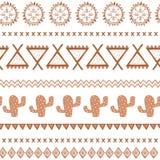 Modello senza cuciture etnico tribale di vettore Fondo astratto azteco Struttura messicana dell'ornamento nel colore di marrone d Immagini Stock Libere da Diritti