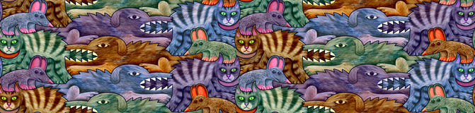 Modello senza cuciture fatto dei cani, dei gatti e dei topi in quattro tonalità illustrazione di stock