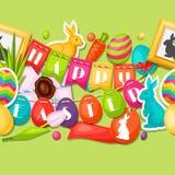 Modello senza cuciture felice di Pasqua con decorativo royalty illustrazione gratis