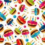 Modello senza cuciture festivo di celebrazione con il compleanno Immagini Stock