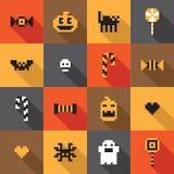 Modello senza cuciture festivo piano del pixel di Halloween nel vettore Immagine Stock