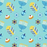 Modello senza cuciture festivo sveglio Chanukah felice nei colori tradizionali Immagini Stock Libere da Diritti