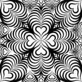 Modello senza cuciture floreale astratto con la linea in bianco e nero cuore Fotografia Stock Libera da Diritti