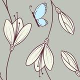Modello senza cuciture floreale astratto disegnato a mano con la farfalla Fotografia Stock Libera da Diritti