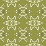 Modello senza cuciture floreale bianco sul fondo di verde verde oliva Fotografie Stock