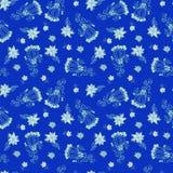 Modello senza cuciture floreale blu dell'annata Fotografia Stock