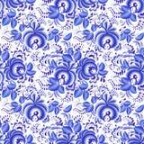 Modello senza cuciture floreale blu e bianco decorato Immagini Stock Libere da Diritti