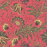 Modello senza cuciture floreale con i fiori e le foglie Parte posteriore dell'ornamentale Fotografia Stock Libera da Diritti
