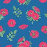 Modello senza cuciture floreale con i fiori rosa e le foglie della rosa canina disegnati a mano nello stile d'annata su fondo blu Immagini Stock Libere da Diritti