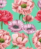 Modello senza cuciture floreale con i popies, le peonie e le rose illustrazione vettoriale